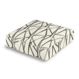 Black & White Abstract Stripes Box Floor Pillow