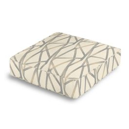 Silver & Tan Abstract Stripes Box Floor Pillow