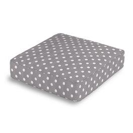 White & Gray Polka Dot Box Floor Pillow