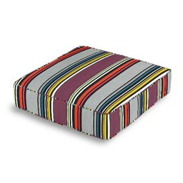 Purple Multicolor Striped Box Floor Pillow