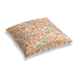 Multicolor Red Paisley Floor Pillow