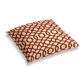 Flocked Tan & Red Trellis Floor Pillow