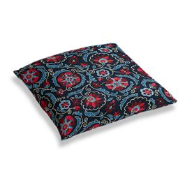 Red & Navy Blue Suzani Floor Pillow