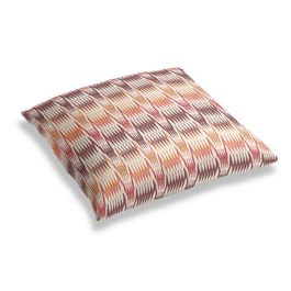Orange & Pink Flame Stitch Floor Pillow