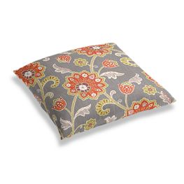 Coral & Gray Floral Floor Pillow