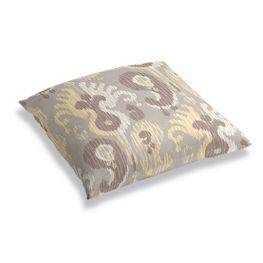 Pastel Yellow & Gray Ikat Floor Pillow