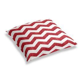 White & Red Chevron Floor Pillow