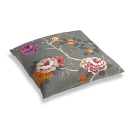 Painterly Pink & Gray Floral Floor Pillow