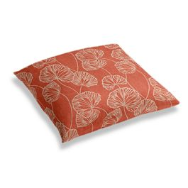 Coral Red Fan Leaf Floor Pillow