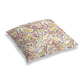Stenciled Red & Gray Paisley Floor Pillow