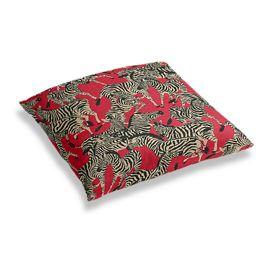 Black, White & Red Zebra Floor Pillow