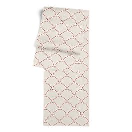 Embroidered Pink Scallop Table Runner