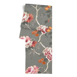 Painterly Pink & Gray Floral Table Runner