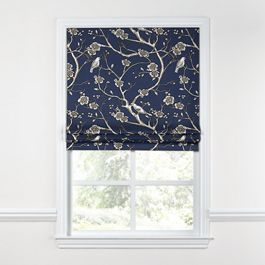 Navy Blue Floral & Bird Roman Shade