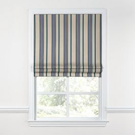 Gray, Teal & Blue Stripe Roman Shade