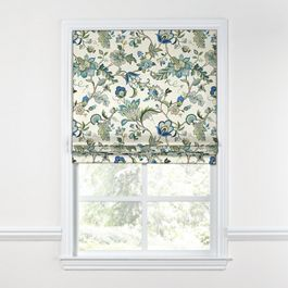 Jacobean Blue Floral Roman Shade