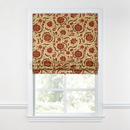 Beige & Red Suzani Roman Shade