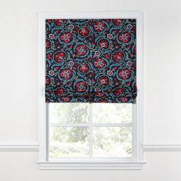 Red & Navy Blue Suzani Roman Shade