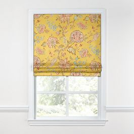 Delicate Yellow Floral Roman Shade