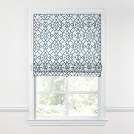 Turquoise Trellis Scroll Roman Shade