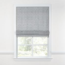 Cool Gray Trellis Scroll Roman Shade