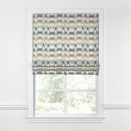 Tan & Blue Flame Stitch Roman Shade