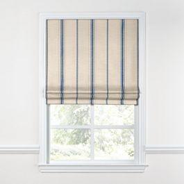 Blue Burlap-Style Stripe Roman Shade