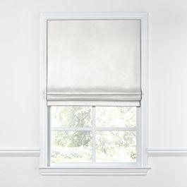 White Slubby Linen Roman Shade