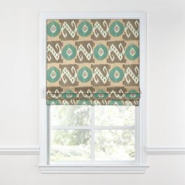 Handwoven Tan & Teal Ikat Roman Shade