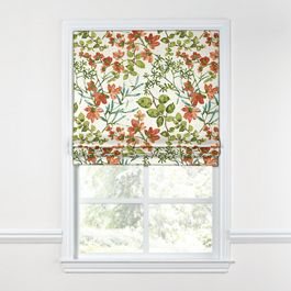 Coral Watercolor Floral Roman Shade