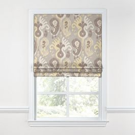 Pastel Yellow & Gray Ikat Roman Shade