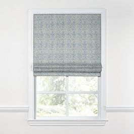 Blue Ogee Block Print Roman Shade