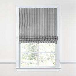 Black Ticking Stripe Roman Shade