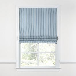 Blue Ticking Stripe Roman Shade