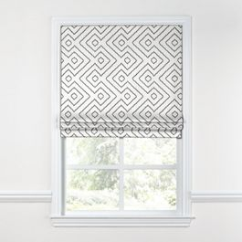 White & Gray Diamond Roman Shade
