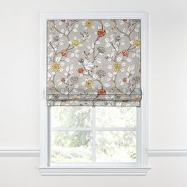 Modern Gray Floral Roman Shade