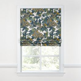 Aqua Chinoiserie Dragon Roman Shade