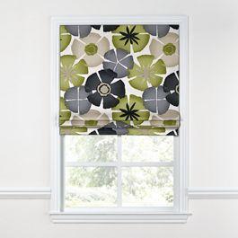 Modern Gray & Green Floral Roman Shade