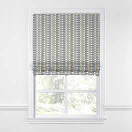 Yellow & Blue Mod Geometric Roman Shade