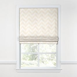 Metallic White & Gold Chevron Roman Shade