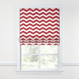 White & Red Chevron Roman Shade