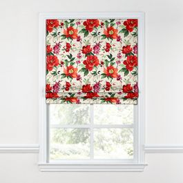 Bold Green & Red Floral Roman Shade