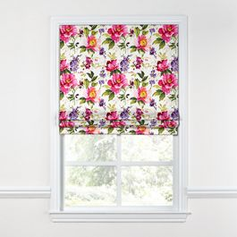 Chintz-like Pink Floral Roman Shade