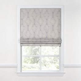 Embroidered Gray Trellis Roman Shade