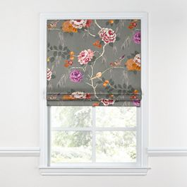 Painterly Pink & Gray Floral Roman Shade