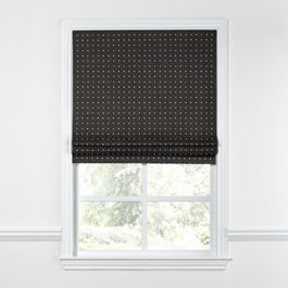 Silver Studded Charcoal Roman Shade
