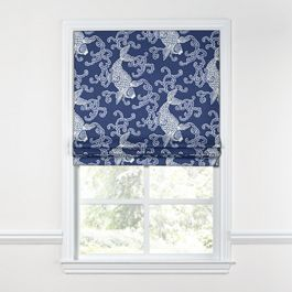 Royal Blue Koi Fish Roman Shade