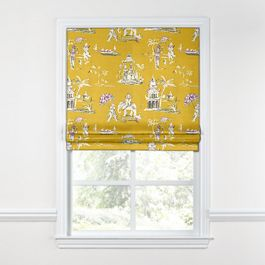 Purple & Yellow Chinoiserie Roman Shade