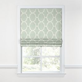 Sea Green Quatrefoil Roman Shade