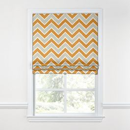Tan & Orange Chevron  Roman Shade